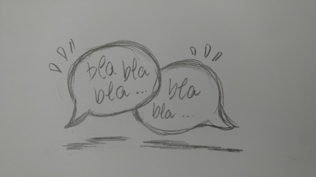 image of two speech bubbles containing the phrase 'blah blah blah' done in pencil