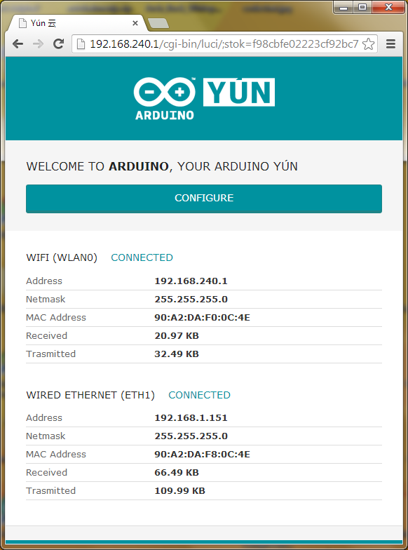 Arduino Yun network interface status