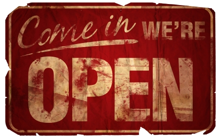 image of vintage sign which says 'come in we're open