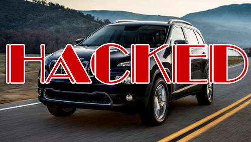 image of jeep cherokee with overlaid word 'hacked'